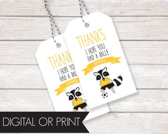 Soccer Party Favor Tags, Birthday Thank You Tags, Printable Favor Tags, Printed Favor Tags, Custom Thank You Tags, Personalized Party Tags