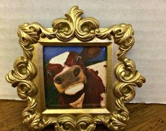 Nosy Cow Mini Giclée Print in Baroque Frame