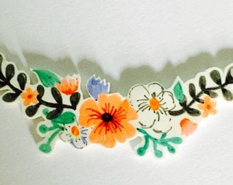Floral plastic hand painted gold, silver or rose gold plated necklace