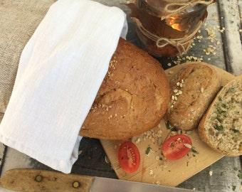 Natural linen bread bag , hand woven, picnic basket bread keeper storage bags, Eco friendly, rustic bag, organic food storage