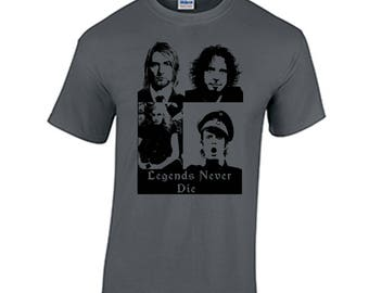Legends never die tee shirt chris cornell kurt cobain layne staley scott weiland soundgarden audio slave stone temple pilots nirvana grunge
