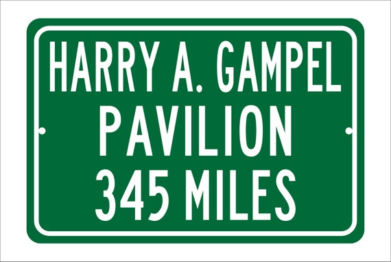 Custom College Highway Distance Sign to Harry A. Gampel Pavilion   Home of the University of Connecticut Huskies   UConn Basketball  