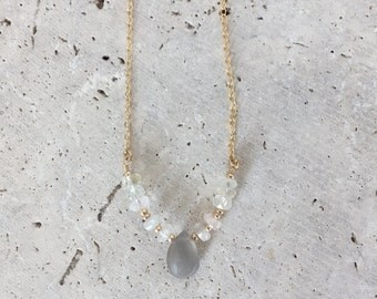 Aquamarine and gray moonstone necklace, gold filled necklace, layering necklace
