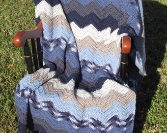 Crocheted Ripple Throw in Grey to Blue Ombre-Crocheted Afghan