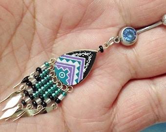 Peruvian handmade handpaint Long Dangle Navel Ring Belly Button Ring Navel Piercing 14G