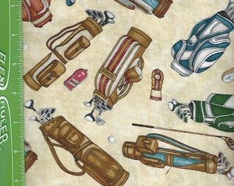 Golf Clubs on Tan, Quilting Treasures