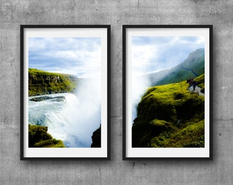 iceland, waterfalls, diptych, printable art, instant download, colour photography, home decor, wall art, 4x6, nature, waterfall, green, blue