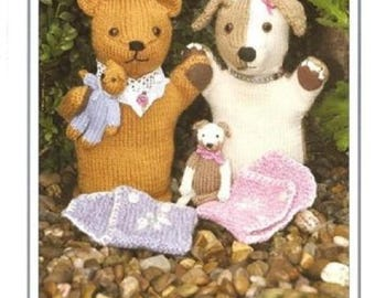 Knits & Pieces Matilda and Maisy Glove Puppets And Their Babies Pattern,  KP 22, knitting pattern, glove puppet pattern,dog puppet