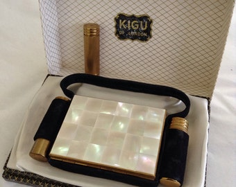 1950s Vintage Evening by Kigu Mother of Pearl Compact & Cigarette Case