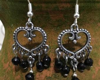 Tibetan Silver & Black Glass Bead Earrings