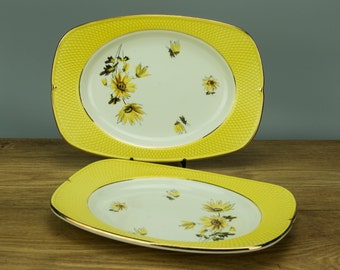 Dazzling Art Deco SALINS FRANCE Yellow and White Floral Small Serving Dish, 1930s, Made in France