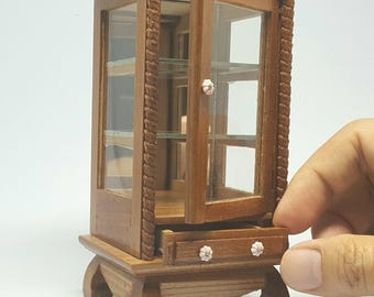 Miniature dollhouse cabinet wood of Thailand vintage style created by handmade from Thai people