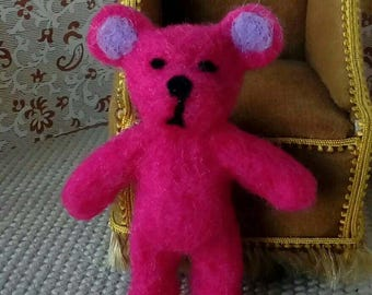 Needle felted, pink teddy bear