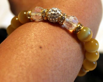 Beautiful yellow-beaded bracelet; shamballa, handmade, cute, casual wear, party wear