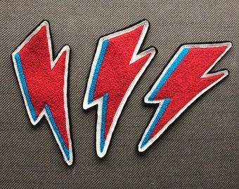 Hand Embroidered David Bowie Rebel Rebel Bowie Lightning Bolt Patch