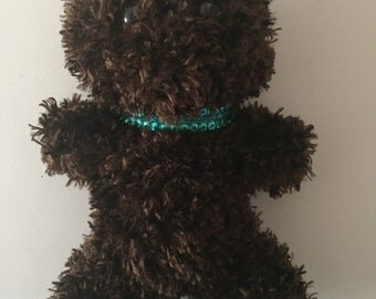 Brown Grizzly Knitted Teddy Bear - Blue Sequin Collar