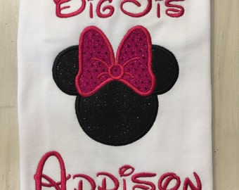 Minnie Mouse Big Sister Shirt // Minnie Mouse Big Sis Shirt // Monogrammed Sibling Shirt // Minnie Mouse Shirt for girls