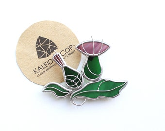 Thistle brooch, brooch of glass, stained glass, glass, jewelry