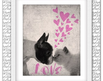 Love print, Love art, Love poster, Dog and Cat print, Cat and Dog art, Cat print, Cat art, Dog print, Dog art, Animal poster, Animals print