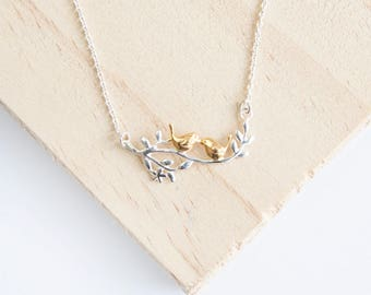 Alouette Bird Necklace, Sterling Silver, Yellow Gold, Gold Bird Necklace, Silver Bird Necklace, Love Birds, Branch Necklace, Twig Jewelry