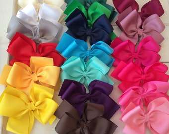 Classic hair bow, solid color bows, large hair bow