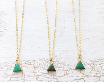 Small genuine turquoise triangle chain | Necklace Choker | Gemstone boho gypsy jewelry | Triangle gold filled | Bohemian