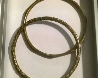 bronze and silver bangle bracelet set of 2 boho bohemian
