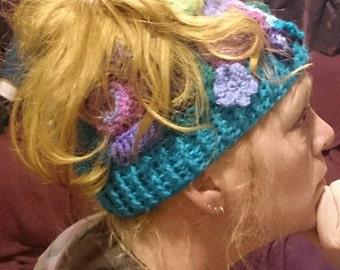 Freeform crochet messy-bun hat boho hippy festival carnival summer winter quirky cool alternative teen womens dreadlocks fun