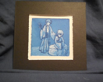 "Handmade Intaglio Etching - Copper Plate Print - Image 3x3 - ""Faceless Greeting"""