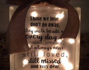 Glass Block with Lights, Remebering a Special someone Quote, Glass Block, Night Light, Memorial Block