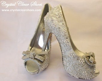 Lace covered Silver Satin Shoes