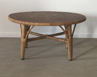 Mid century 50's floral bench coffee table rattan