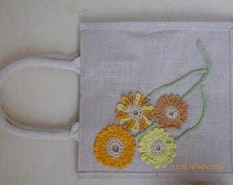 57 White Hessian Bag with Shades of Yellow