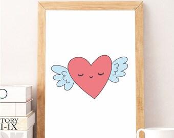 Valentine Gift Idea- Kid Decor- sleepy heart wings - Art for Boys Room- Girls Nursery Art- Girls Nursery Decor Boy- Kid Bedroom- valentines