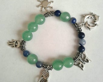 Blue and Green Aventurine Charm Bracelet