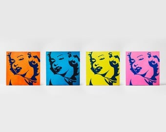 Marilyn Monroe Hand Painted Canvas Art | Orange, Pink, Yellow and Blue | Set of 4