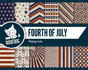 Fourth of July digital paper | vintage independence day | digital paper pack instant download | USA patriotic stars & stripes america