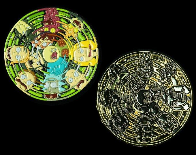 Rick and Morty Portal Spinner Pins (2 layers, top layer with faces SPINS, bottom layer is a R&M portal) - 2 Pack