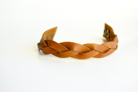 Women's Braided Leather Cuff:  Genuine Leather Cognac Brown Magic Braided Leather Bracelet