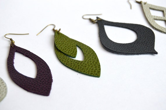 SALE // Leather Earrings // LIMITED EDITION Leather Earrings 3 or 4 Pack // Greenery, Eggplant, Bone, or Slate