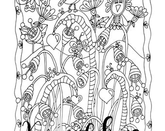 Romeo Garden, 1 Adult Coloring Book Page, Printable Instant Download