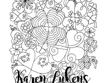St. Patrick's Day - Lucky Clover, 1 Adult Coloring Book Page, Printable Instant Download.