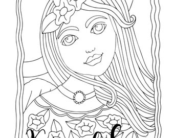 Pure Heart, 1 Adult Coloring Book Page, Printable Instant Download, Angels