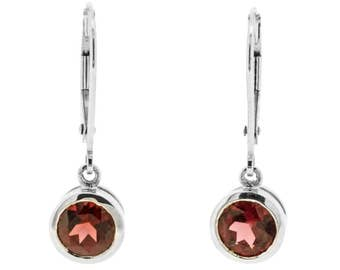 White Gold Drop Earrings with Bezel Set Red Garnet Gemstones (4009101)