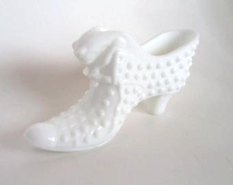 Fenton Milk Glass Hobnail Shoe