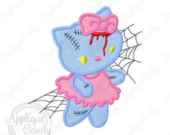 Kitty Zombie Applique 2 Machine Embroidery Design File 5x7 6x10 hk cat hello Halloween INSTANT DOWNLOAD