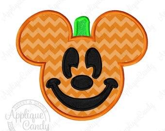 Mr Mouse Pumpkin Applique Machine Embroidery Design 5x7 6x10 Halloween INSTANT DOWNLOAD