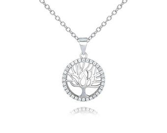 Rhodium Plated Sterling Silver Tree of Life Pendant