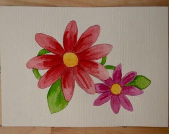 Marguerite growing, watercolor