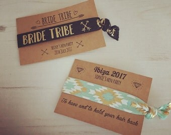 Bride Tribe personalised hair ties / hair elastics / yoga bands / bracelets - lots of designs - hen party favours